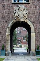 UK, England, Cambridge.  Gate to St. John's College.