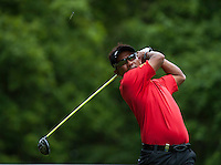 24.05.2015. Wentworth, England. BMW PGA Golf Championship. Final Round.  Thongchai Jaidee [THA] starts the day two shots of the lead. Tee shot 3rd hole during the final round of the 2015 BMW PGA Championship from The West Course Wentworth Golf Club