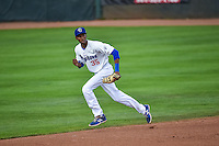 Brendon Davis (35) of the Ogden Raptors in action against the Grand Junction Rockies in Pioneer League play at Lindquist Field on September 3, 2015 in Ogden, Utah.  Grand Junction defeated Ogden 16-8. (Stephen Smith/Four Seam Images)