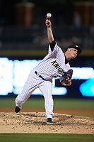 Charlotte Knights relief pitcher Matt Foster (22) in action against the Rochester Red Wings at BB&T BallPark on May 14, 2019 in Charlotte, North Carolina. The Knights defeated the Red Wings 13-7. (Brian Westerholt/Four Seam Images)