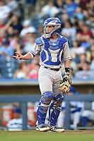 Midland RockHounds catcher Beau Taylor (24) during a game against the Tulsa Drillers on May 31, 2014 at ONEOK Field in Tulsa, Oklahoma.  Tulsa defeated Midland 5-3.  (Mike Janes/Four Seam Images)