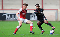 Lincoln City's Tayo Edun vies for possession with Fleetwood Town's Harvey Saunders<br /> <br /> Photographer Chris Vaughan/CameraSport<br /> <br /> The EFL Sky Bet League One - Fleetwood Town v Lincoln City - Saturday 17th October 2020 - Highbury Stadium - Fleetwood<br /> <br /> World Copyright © 2020 CameraSport. All rights reserved. 43 Linden Ave. Countesthorpe. Leicester. England. LE8 5PG - Tel: +44 (0) 116 277 4147 - admin@camerasport.com - www.camerasport.com