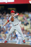 J. D. Durbin of the Philadelphia Phillies during a game against the Los Angeles Dodgers in a 2007 MLB season game at Dodger Stadium in Los Angeles, California. (Larry Goren/Four Seam Images)