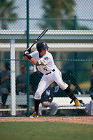 Pittsburgh Pirates Paul Brands (5) at bat during an Instructional League game against the New York Yankees on September 28, 2017 at Pirate City in Bradenton, Florida.  (Mike Janes/Four Seam Images)