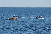 """Sea Watch-2.<br /> Die Sea Watch-2 ist zu ihrer 13. SAR-Mission vor der libyschen Kueste.<br /> Im Bild: Die Crew bei einer Uebung """"Mann ueber Bord"""".<br /> 19.10.2016, Mediterranean Sea<br /> Copyright: Christian-Ditsch.de<br /> [Inhaltsveraendernde Manipulation des Fotos nur nach ausdruecklicher Genehmigung des Fotografen. Vereinbarungen ueber Abtretung von Persoenlichkeitsrechten/Model Release der abgebildeten Person/Personen liegen nicht vor. NO MODEL RELEASE! Nur fuer Redaktionelle Zwecke. Don't publish without copyright Christian-Ditsch.de, Veroeffentlichung nur mit Fotografennennung, sowie gegen Honorar, MwSt. und Beleg. Konto: I N G - D i B a, IBAN DE58500105175400192269, BIC INGDDEFFXXX, Kontakt: post@christian-ditsch.de<br /> Bei der Bearbeitung der Dateiinformationen darf die Urheberkennzeichnung in den EXIF- und  IPTC-Daten nicht entfernt werden, diese sind in digitalen Medien nach §95c UrhG rechtlich geschuetzt. Der Urhebervermerk wird gemaess §13 UrhG verlangt.]"""