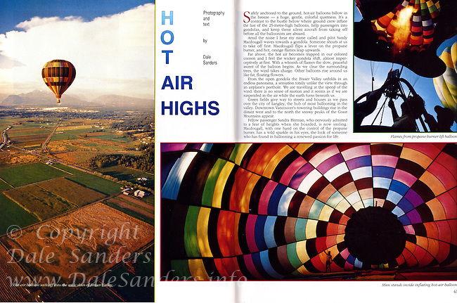 """Beautiful British Columbia Magazine Cover Story on """"Hot Air Highs"""" - Ballooning in BC's Fraser Valley, written and photographed by Dale Sanders.  2000 Word Article and Photos."""