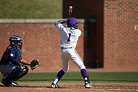 Josh Greene (1) of the High Point Panthers at bat against the NJIT Highlanders at Williard Stadium on February 19, 2017 in High Point, North Carolina. The Panthers defeated the Highlanders 6-5. (Brian Westerholt/Four Seam Images)