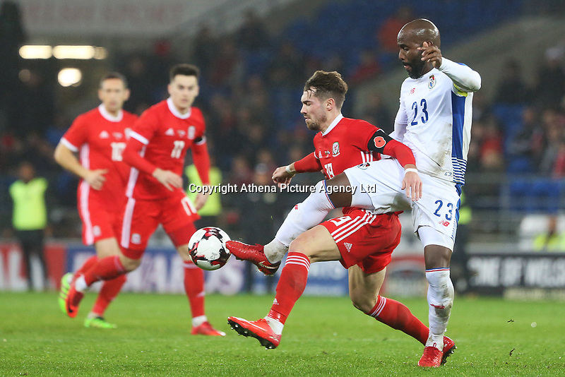 Tom Bradshaw of Wales is challenged by Felipe Baloy of Panama during the International Friendly match between Wales and Panama at The Cardiff City Stadium, Wales, UK. Tuesday 14 November 2017