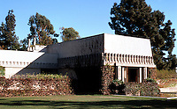 F.L. Wright: Barnsdall House. 3/4 elevation, N.W. Los Angeles. Built for Aline Barnsdall.