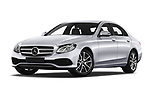 Stock pictures of low aggressive front three quarter view of a 2018 Mercedes Benz E Class Business Solution 4 Door Sedan