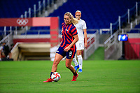 SAITAMA, JAPAN - JULY 24: Lindsey Horan #9 of the United States moves with the ball during a game between New Zealand and USWNT at Saitama Stadium on July 24, 2021 in Saitama, Japan.