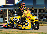 Jul, 9, 2011; Joliet, IL, USA: NHRA pro stock motorcycle rider Karen Stoffer during qualifying for the Route 66 Nationals at Route 66 Raceway. Mandatory Credit: Mark J. Rebilas-