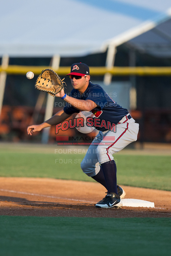 Danville Braves first baseman Juan Yepez (15) waits for a throw during the game against the Burlington Royals at Burlington Athletic Park on August 13, 2015 in Burlington, North Carolina.  The Braves defeated the Royals 6-3. (Brian Westerholt/Four Seam Images)