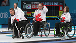 Pyeongchang, Korea, 12/march/2018-Marie Wright, Dennis Thiessen, Mark Ideson, compete in wheelchair curling during the 2018 Paralympic Games in PyeongChang. Photo Scott Grant/Canadian Paralympic Committee.