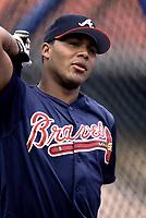 Andruw Jones of the Atlanta Braves during a 2001 season MLB game at Dodger Stadium in Los Angeles, California. (Larry Goren/Four Seam Images)