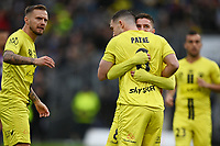 30th May 2021; Auckland, New Zealand;  Cam Devlin congratulates Tim Payne for being awarded a penalty kick. Wellington Phoenix versus Perth Glory, A-League football at Eden Park.