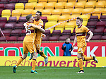 Motherwell v St Johnstone…18.03.17     SPFL    Fir Park<br />Scott McDonald celebrates his goal which deflected in off Tam Scobbie<br />Picture by Graeme Hart.<br />Copyright Perthshire Picture Agency<br />Tel: 01738 623350  Mobile: 07990 594431