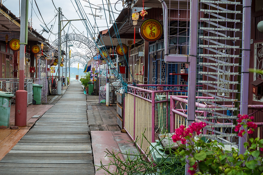 Street Scene and Houses, Lee Clan Jetty, George Town, Penang, Malaysia
