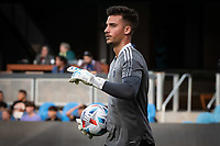 SAN JOSE, CA - AUGUST 13: JT Marcinkowski #1 of the San Jose Earthquakes warms up before a game between San Jose Earthquakes and Vancouver Whitecaps at PayPal Park on August 13, 2021 in San Jose, California.