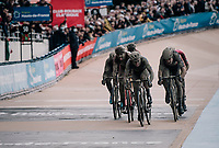 Finish sprint for 5th place with Yves Lampaert (BEL/Deceuninck-Quick Step) taking the spot<br /> <br /> 118th Paris-Roubaix 2021 (1.UWT)<br /> One day race from Compiègne to Roubaix (FRA) (257.7km)<br /> <br /> ©kramon