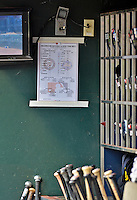 24 July 2012: The Washington Nationals lineup card is posted in the dugout prior to a game against the New York Mets at Citi Field in Flushing, NY. The Nationals defeated the Mets 5-2 to take the second game of their 3-game series. Mandatory Credit: Ed Wolfstein Photo