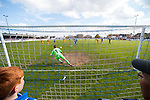 Lowestoft Town 2 Barrow 3, 25/04/2015. Crown Meadow, Conference North. Barrow make the six-hour trip to Suffolk needing a win to secure the title. Lowestoft score from the spot to make the score 1-3 and make for an uncomfortable last 30 minutes at Crown Meadow for Barrow. Photo by Simon Gill.