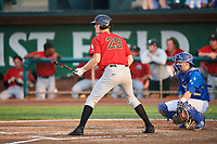 Logan Sowers (29) of the Great Falls Voyagers bats against the Ogden Raptors at Lindquist Field on August 21, 2018 in Ogden, Utah. Great Falls defeated Ogden 14-5. (Stephen Smith/Four Seam Images)