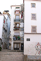 houses and narrow streets alfama district lisbon portugal