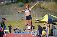 Mariah Rurinui competes in the women's elite long jump. 2021 Capital Classic athletics at Newtown Park in Wellington, New Zealand on Saturday, 20 February 2021. Photo: Dave Lintott / lintottphoto.co.nz