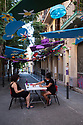 Spain - Barcelona - A street decorated for the Fiesta Mayor de Gracia, a popular festivity taking place in August in the neighbourhood of Gracia which mainly consists in decorating the streets. The best decorated street will win an award at the end of the festivity.