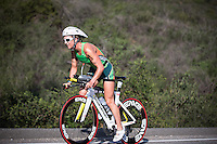 Meredith Kessler competes during the bike portion of the Accenture Ironman California 70.3 in Oceanside, CA on March 29, 2014.
