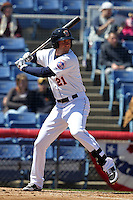 Binghamton Mets outfielder Eric Campbell #21 during a game against the Akron Aeros at NYSEG Stadium on April 7, 2012 in Binghamton, New York.  Binghamton defeated Akron 2-1.  (Mike Janes/Four Seam Images)