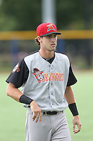 Steven Duggar (17) of the Salem-Keizer Volcanoes before a game against the Hillsboro Hops at Ron Tonkin Field on July 26, 2015 in Hillsboro, Oregon. Hillsboro defeated Salem-Keizer, 4-3. (Larry Goren/Four Seam Images)