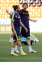 Valencia, Spain. Wednesday 18 September 2013<br /> Pictured L-R: Chico Flores shares a joke with team mate Michu.<br /> Re: Swansea City FC training ahead of their UEFA Europa League game against Valencia C.F. at the Estadio Mestalla, Spain,