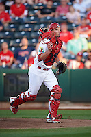 Springfield Cardinals catcher Mike Ohlman (25) during a game against the Frisco RoughRiders  on June 4, 2015 at Hammons Field in Springfield, Missouri.  Frisco defeated Springfield 8-7.  (Mike Janes/Four Seam Images)