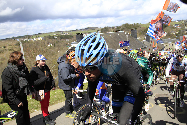 The peloton including Thomas Dekker (NED) Garmin-Barracuda climb Cote de Saint-Roch during the 98th edition of Liege-Bastogne-Liege, running 257.5km from Liege to Ans, Belgium. 22nd April 2012.  <br /> (Photo by Eoin Clarke/NEWSFILE).