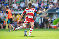 Freddie Burns of Gloucester Rugby takes a conversion attempt during the Aviva Premiership match between London Irish and Gloucester Rugby at the Madejski Stadium on Saturday 8th September 2012 (Photo by Rob Munro)