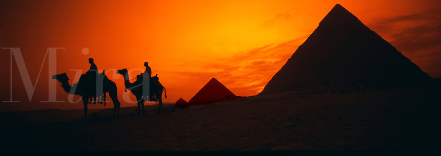 Panoramic Great Pyramids of Giza Egypt at Sunse