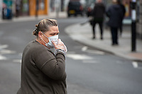 A shopper during the Coronavirus pandemic at Sidcup, Kent, England on 2 April 2020. Photo by Alan Stanford.