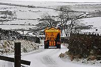 Gritting snow on road near Botton Head, Lancashire between High Bentham and Slaidburn.
