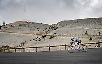 World Champion Julian Alaphilippe (FRA/Deceuninck - QuickStep) coming down the Mont Ventoux as stage leader after the first lap over the 'Giant of the Provence'.<br /> <br /> Stage 11 from Sorgues to Malaucène (199km) running twice over the infamous Mont Ventoux<br /> 108th Tour de France 2021 (2.UWT)<br /> <br /> ©kramon