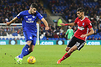 Callum Paterson of Cardiff City is marked by Grant Ward of Ipswich during the Sky Bet Championship match between Cardiff City and Ipswich Town at The Cardiff City Stadium, Cardiff, Wales, UK. Tuesday 31 October 2017
