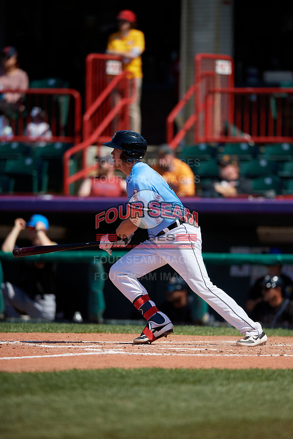 Erie SeaWolves Josh Lester (17) at bat during an Eastern League game against the Akron RubberDucks on June 2, 2019 at UPMC Park in Erie, Pennsylvania.  Erie defeated Akron 8-5 in eleven innings in the second game of a doubleheader.  (Mike Janes/Four Seam Images)