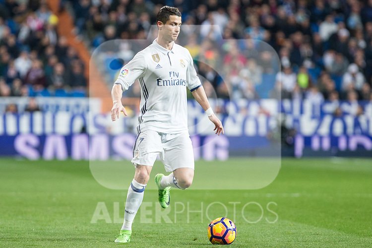 Cristiano Ronaldo of Real Madrid  during the match of Spanish La Liga between Real Madrid and UD Las Palmas at  Santiago Bernabeu Stadium in Madrid, Spain. March 01, 2017. (ALTERPHOTOS / Rodrigo Jimenez)