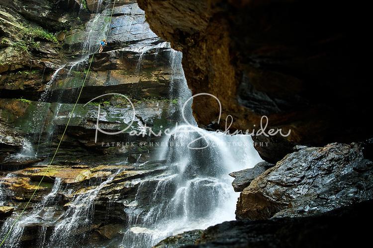 Photography Green River Adventures Big Bradley Waterfall Rappel in Saluda, North Carolina.<br /> <br /> Photographer - Patrick SchneiderPhoto.com