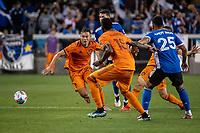 SAN JOSE, CA - JULY 24: Sam Junqua #29 of the Houston Dynamo chases the ball during a game between San Jose Earthquakes and Houston Dynamo at PayPal Park on July 24, 2021 in San Jose, California.