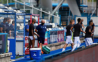 Huddersfield Town players head out to warm up<br /> <br /> Photographer Alex Dodd/CameraSport<br /> <br /> The EFL Sky Bet Championship - Huddersfield Town v Wigan Athletic - Saturday 20th June 2020 - John Smith's Stadium - Huddersfield <br /> <br /> World Copyright © 2020 CameraSport. All rights reserved. 43 Linden Ave. Countesthorpe. Leicester. England. LE8 5PG - Tel: +44 (0) 116 277 4147 - admin@camerasport.com - www.camerasport.com
