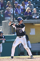 Reid Hunter #27 of the Northwestern Wildcats bats against the USC Trojans at Dedeaux Field on  February 16, 2014 in Los Angeles, California. USC defeated Northwestern, 13-6. (Larry Goren/Four Seam Images)