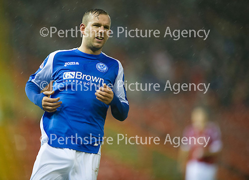 Aberdeen v St Johnstone..22.12.12      SPL.Rowan Vine battered by the high winds and rain.Picture by Graeme Hart..Copyright Perthshire Picture Agency.Tel: 01738 623350  Mobile: 07990 594431