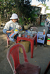 Asia, Vietnam, Nha Trang. Typical small roadside coffee shop.
